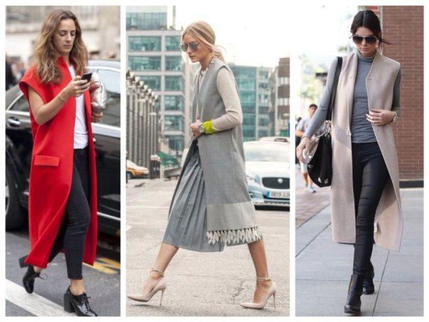 с чем носить удлиненный жилет без рукавов: из шерсти с карманами