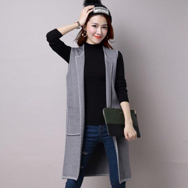 с чем носить удлиненный жилет без рукавов: серый из шерсти