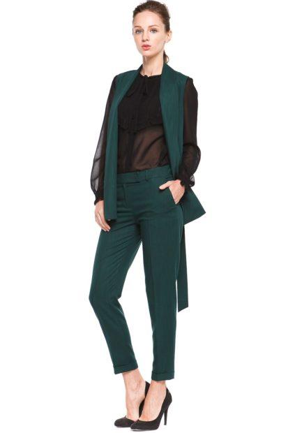 фото с чем носить жилет удлиненный без рукавов деловой зеленый