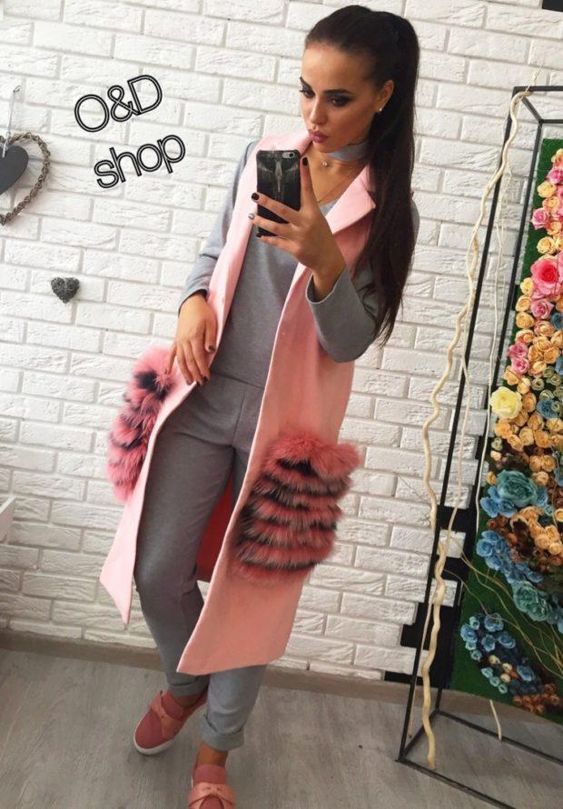 розовый с меховыми карманами