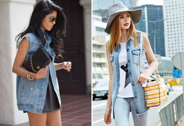 с чем носить удлиненный жилет без рукавов: из джинсы