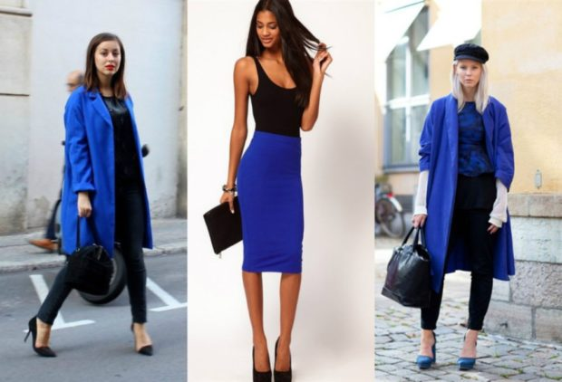 с чем сочетать синий цвет с черным куртка юбка пальто