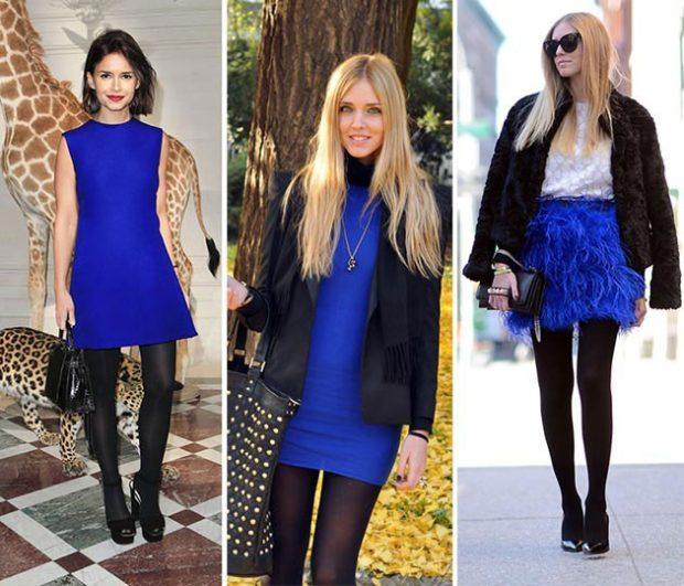 с чем носить синий цвет с черным платье юбка