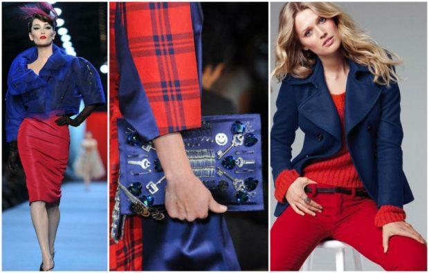 с чем носить синий цвет с красной юбкой штанами