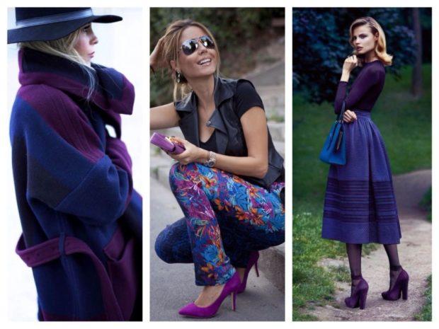 с чем носить синий цвет с сиреневым пальто туфли кофта