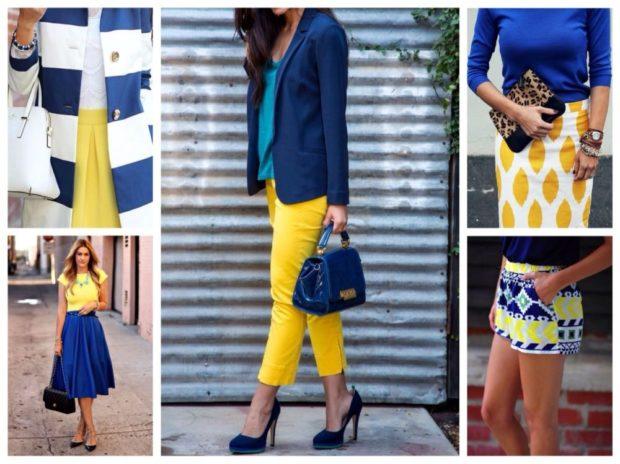 с чем носить синий цвет с желтым брюки кофта юбка