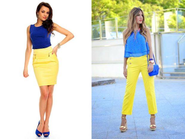 с чем носить синий цвет с желтым юбка штаны