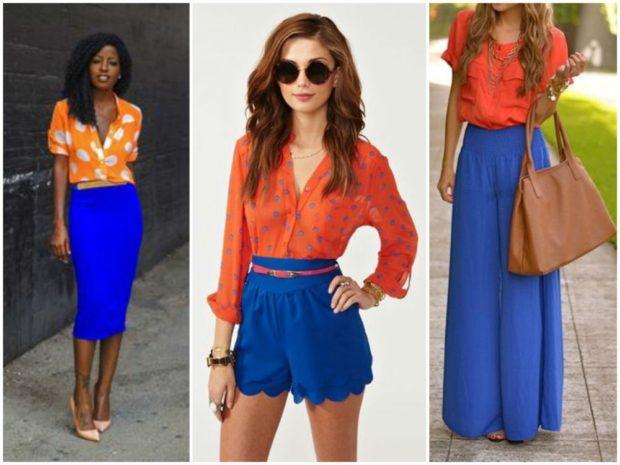 с чем носить синий цвет с оранжевыми блузками
