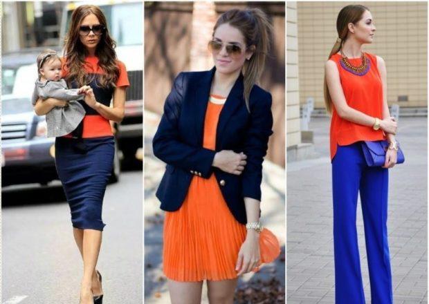 с чем носить синий цвет с оранжевым футболка платье блузка