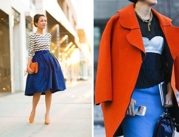 с чем носить синий цвет с оранжевым сумка пальто