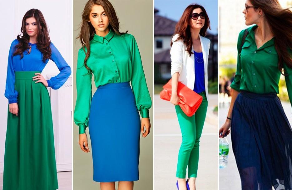 Сочетание зеленого и синего в одежде фото