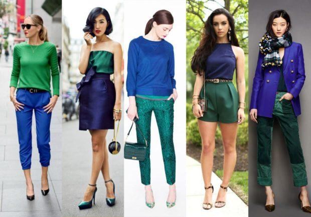 с чем носить синий цвет с зеленой кофтой штанами юбкой