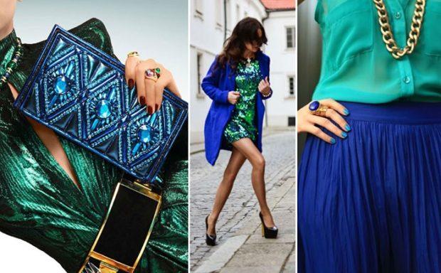 с чем носить синий цвет с зеленым платье блузка