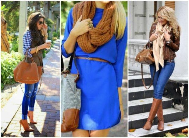 с чем сочетается синий цвет с коричневой сумкой шарфом сапогами