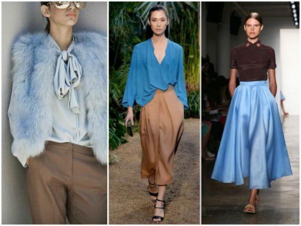 с чем сочетается синий цвет коричневыми брюками юбкой