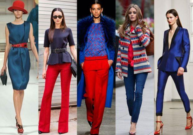 с чем сочетается синий цвет с красными брюками поясом шляпой