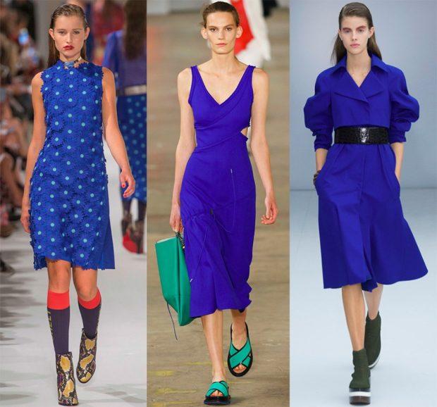 с чем сочетается синий цвет платья цвета разные фасоны