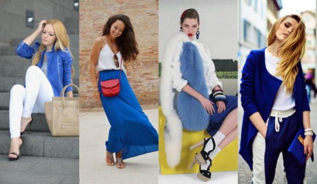 с чем сочетается синий цвет с белым пиджак юбка штаны