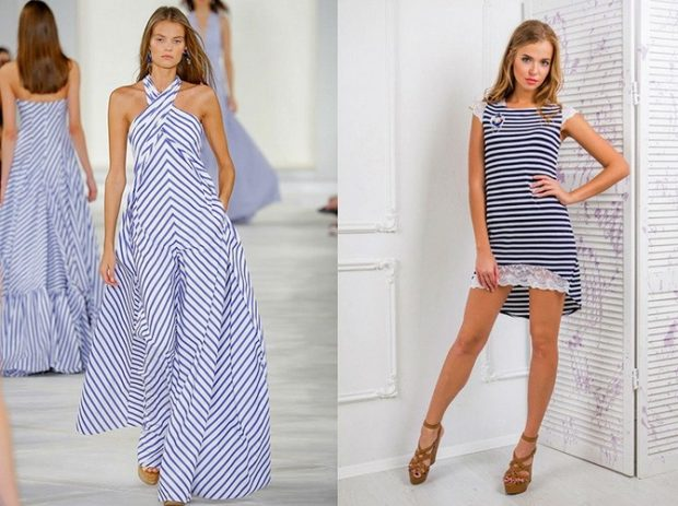 с чем сочетается синий цвет платья в полоску морскую