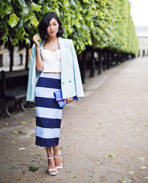 с чем носить синий цвет юбка карандаш