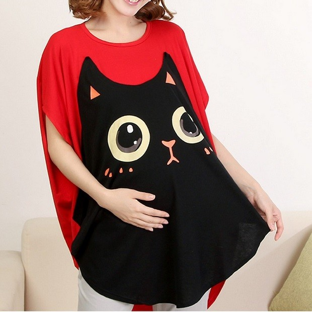 Модная одежда для беременных: футболка с котом