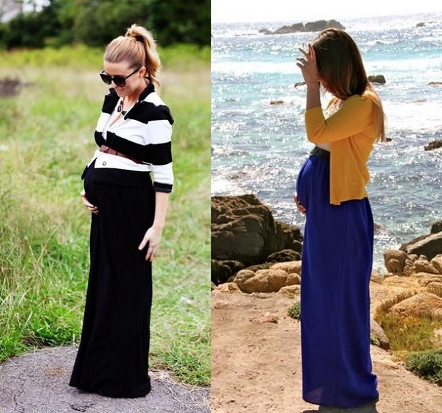 Модная одежда для беременных: юбки в пол