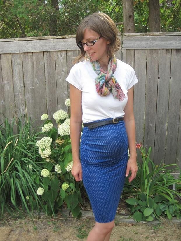 одежда для беременных: юбка синяя