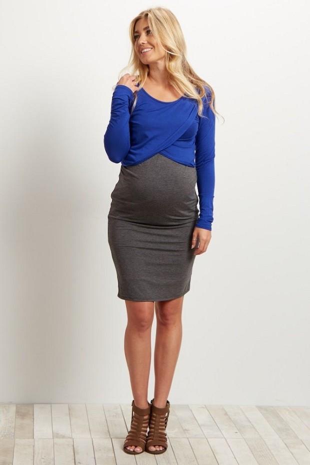 Модная одежда для беременных: юбка кофта синяя