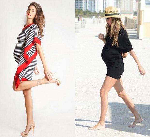 Модная одежда для беременных: платье полоска черное