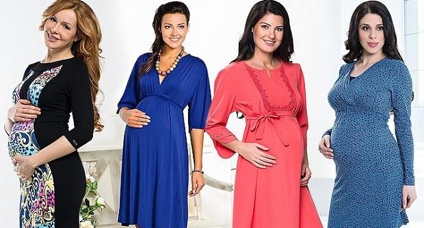Модная одежда для беременных: цветные платья