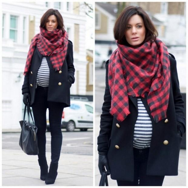 Модная одежда для беременных: пальто черное