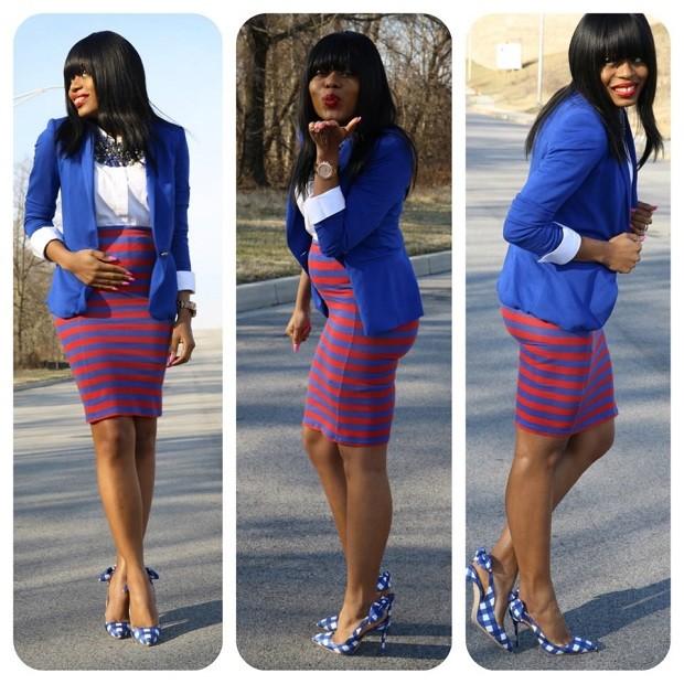 одежда для беременных: юбка в полоску