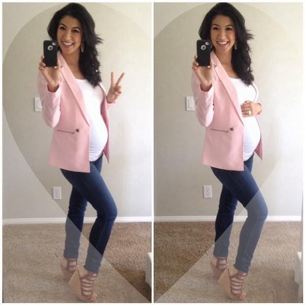 Модная одежда для беременных: синие джинсы