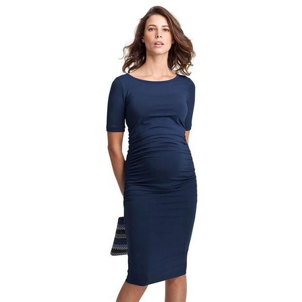 Модная одежда для беременных: платье темное