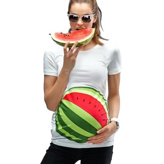 Модная одежда для беременных: футболка арбуз