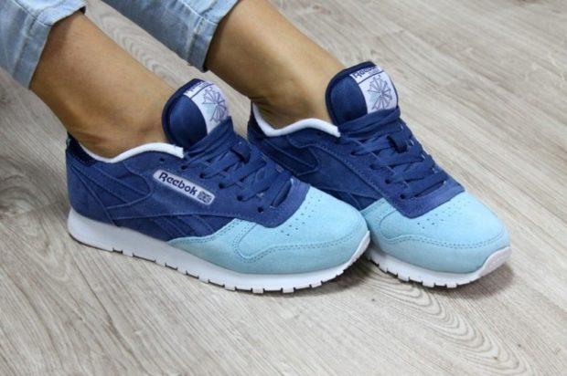 кроссовки женские женские синие с голубым