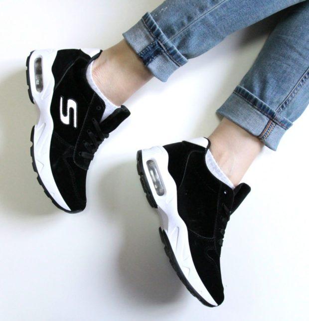 кроссовки черные женские белая подошва