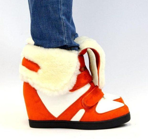 кроссовки женские сникерсы красные с мехом
