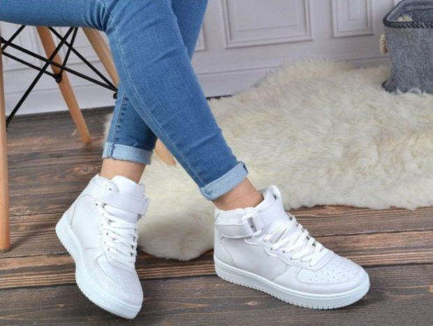 кроссовки белые высокие на липучке