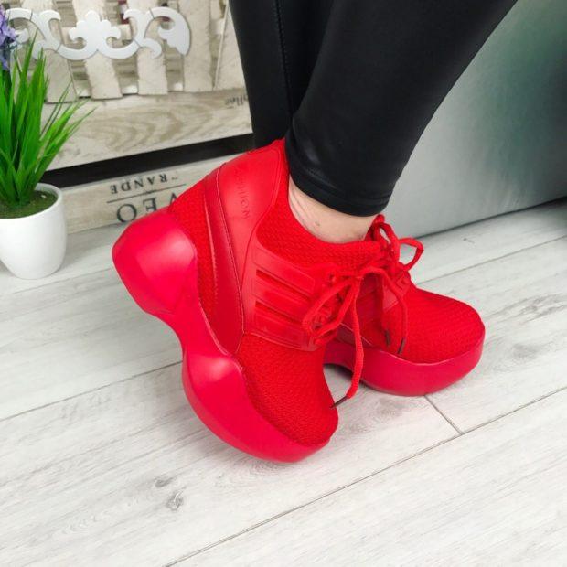 кроссовки красные на платформе