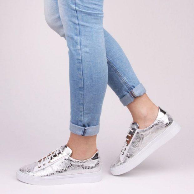 женские кроссовки кеды серебристые
