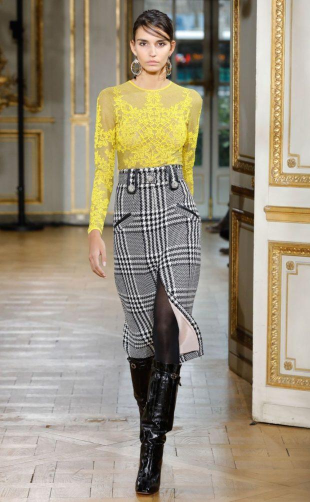 модный лук 2018-2019: юбка в клетку