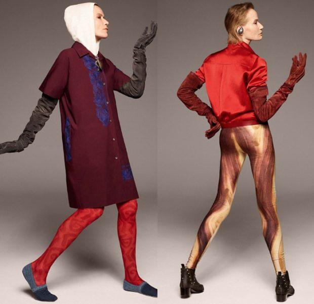 модные луки 2018-2019: лосины с принтом