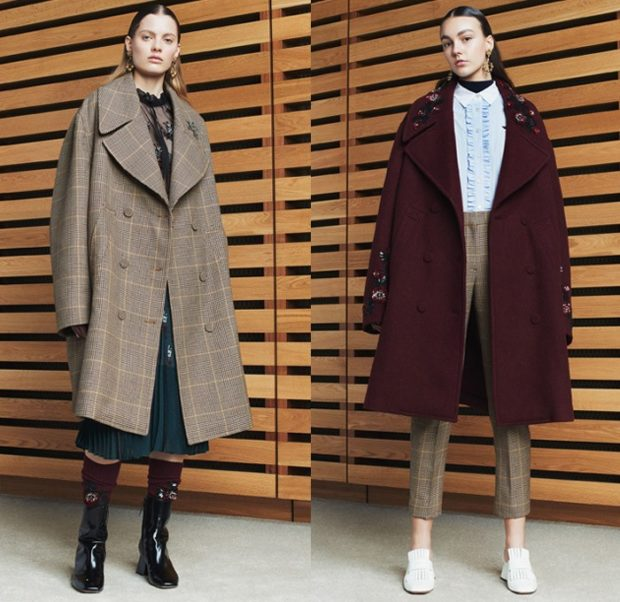 модные луки 2018 2019: пальто в клетку коричневое