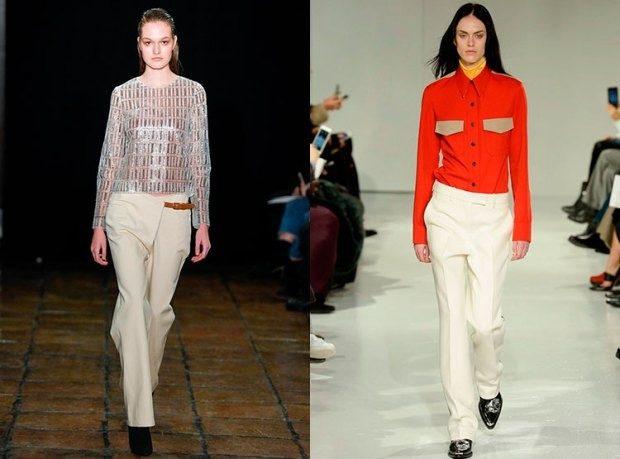 модные луки 2019-2020: брюки белые
