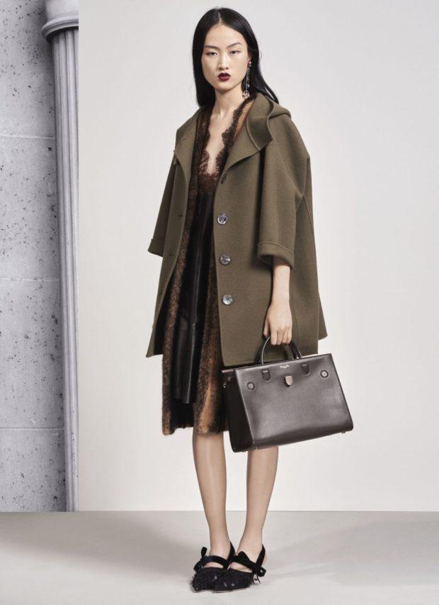 модные луки 2018-2019: пальто темное