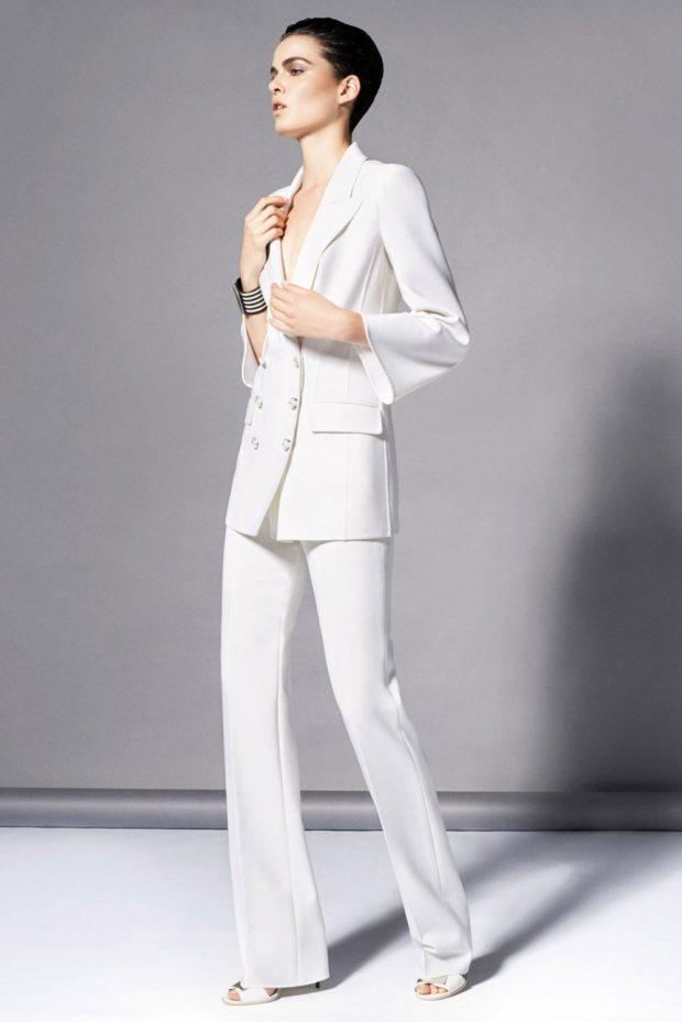 модные луки 2018-2019: брючный костюм белый