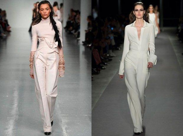 модные луки 2018-2019: костюмы брючные светлые