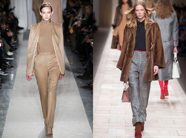 модные луки 2018-2019: костюмы брючные коричневые