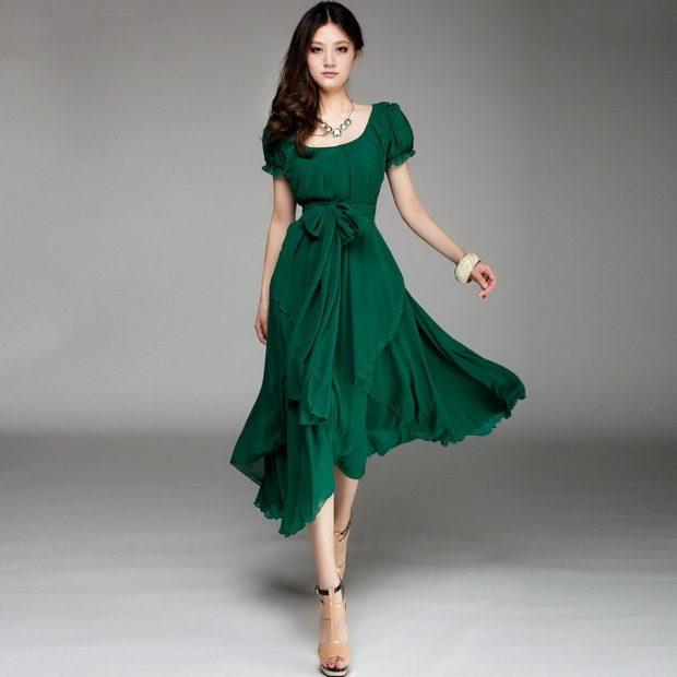 модный лук 2018 2019: платье зеленое